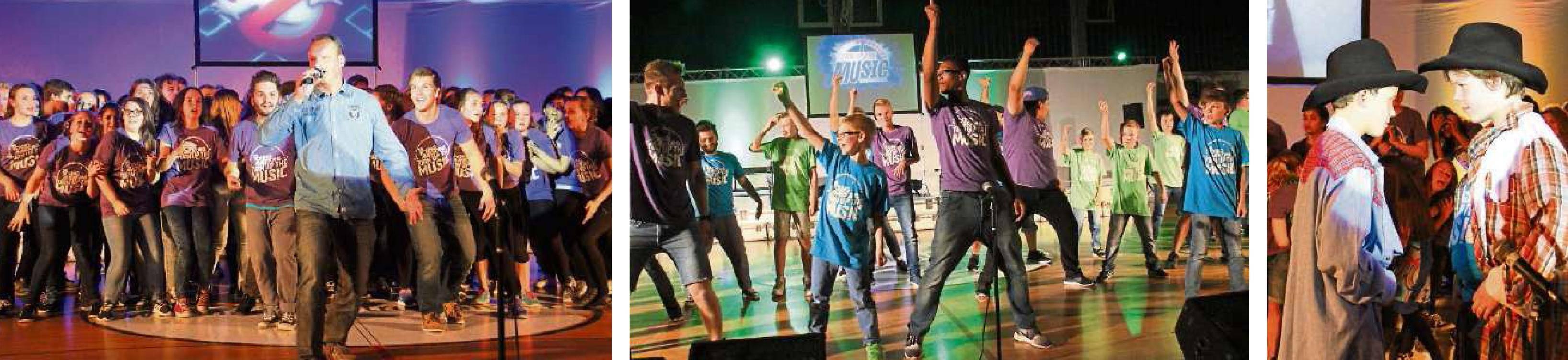 """Ob in der Truppe oder als Solisten: Die Schüler der Grünberger Theo-Koch-Schule ließen gemeinsam mit den """"Young Americans"""" so richtig die Post abgehen. Fotos: Schuette"""